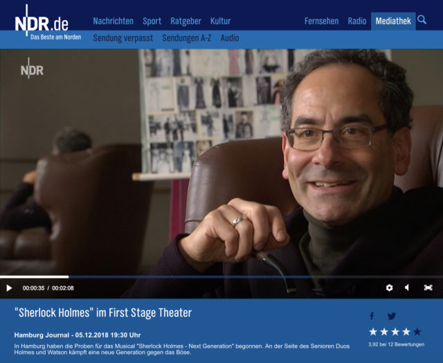 "5.12.2018: NDR – Hamburg Aktuell ""Sherlock Holmes im First Stage Theater"""