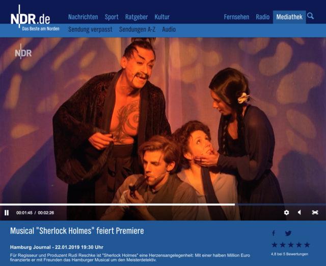 """22.1.2019: NDR – Hamburg Aktuell """"Musical Sherlock Holmes feiert Premiere"""""""